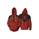 Fashion Black and Red Spider Printed Long Sleeve Zip Up Sport Loose Hoodie
