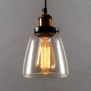 Cloche Shade 1 Light Pendant Light with Clear Glass Shape in Vintage Style for Kitchen Warehouse