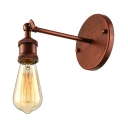 Rustic Single Bulb LED Wall Sconce Light in Wrought Iron for Hallway Porch Stairs