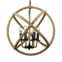 Industrial 6 Light Orb Chandelier Light with Hemp Rope for Front Door Farmhouse Kitchen