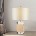 Straight Sided Shade Study Lamp Modernism Fabric 1 Head Reading Book Light in White