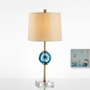Tapered Drum Desk Light Modernism Fabric 1 Head Nightstand Lamp in Blue for Bedside