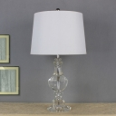Urn-Shaped Desk Light Contemporary Beveled Crystal 1 Head Night Table Lamp in White