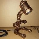 1 Bulb Iron Table Light Antiqued Brass Finish Sitting Robot Shape Bar Plug In Desk Lamp