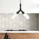 Black 2/3/4-Head LED Pendant Light Fixture Rustic Clear Glass Capsule Ceiling Chandelier with Radial Pipe Design