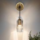 Crystal Hand-Cut Wall Light Sconce Contemporary 1 Bulb Wall Mount Lamp Fixture in Gold
