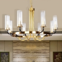 Clear Glass Cylinder Ceiling Chandelier Minimalist 8 Lights Gold Finish Hanging Pendant Lamp with Curved Arm