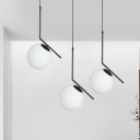 Iron Angled Arm Hanging Lighting Simple 3 Bulbs Multi Lamp Pendant in Black with Orb Milk Glass Shade