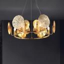 Lotus Leaf Metal Hanging Chandelier Minimalist 6-Head Brass Suspension Light with Round Design