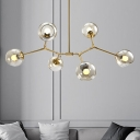 Amber Glass Global Hanging Light Kit Minimalist 6 Heads Chandelier in Brass with Linear Design for Living Room