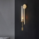 Tubular Clear Glass Wall Lighting Modernism 1 Bulb Gold Sconce Lamp Fixture for Bathroom