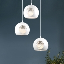 White Globe Cluster Pendant Light Minimalist 3 Lights Iron Ceiling Hang Fixture with Hollow-Out Bamboo Pattern