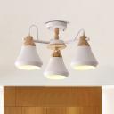 3 Bulbs Dining Room Semi Flush Light Modern Nordic White/Grey Flushmount with Cone Iron Shade