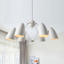 Bullet Bedroom Pendant Chandelier Metal 6 Lights White/Black Finish Hanging Ceiling Lamp