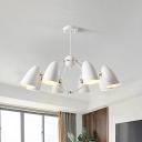 Metallic Bullet Pendant Lighting Modern Nordic Style 8 Bulbs Chandelier in White/Black for Bedroom