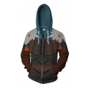 Fashionable Guys Long Sleeve Drawstring Zipper Front Colorblock Cosplay Costume Hoodie in Orange