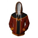 Red Fashionable Long Sleeve Drawstring Zip Up Colorblocked 3D Patterned Loose Fit Hoodie for Boys