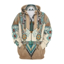 Unique Ethnic Style Retro Indian Tribal Printed Long Sleeve Zip Up Hoodie