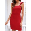 Elegant Ladies Red Sleeveless Square Neck Ruffled Trim Hollow Out Back Mini Shift Dress