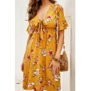 Beach Girls Short Sleeve Deep V-Neck All Over Floral Printed Bow Tie Front Mid A-Line Dress in Yellow