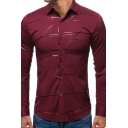 Mens Trendy Long Sleeve Lapel Collar Button Down Striped Slim Fitted Shirt