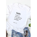 Popular Girls Roll-Up Sleeve Crew Neck Letter FAITH Relaxed Fit T Shirt