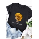 Popular Girls Roll-Up Sleeve Crew Neck Letter Sunflower Girl Graphic Loose T-Shirt