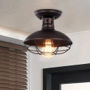 1-Bulb Flushmount Industrial Bowl Metallic Flush Mounted Light in Bronze/Coffee with Cage