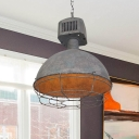 1-Head Pendant Light Fixture Farmhouse Dome Iron Hanging Ceiling Lamp in Grey with Cage