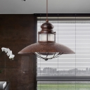 Flared Iron Pendant Light Fixture Antiqued 1 Head Restaurant LED Hanging Ceiling Lamp in Rust