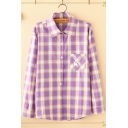 Fancy Girls Purple Long Sleeve Lapel Neck Checkered Printed Dog Pocket Panel Relaxed Shirt