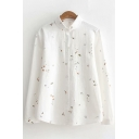 Simple Womens Long Sleeve Lapel Collar Button Down Cartoon All Over Printed Relaxed Shirt