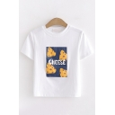 Stylish Girls Short Sleeve Round Neck Cheese Graphic Relaxed Cropped T Shirt