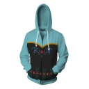 Fancy Chic Long Sleeve Drawstring Zipper Front Floral Pattern Color Block Relaxed Fit Hoodie in Blue
