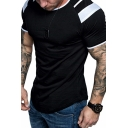 Stylish Mens Short Sleeve Round Neck Constrasted Curved Hem Fitted T-Shirt