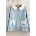 Lovely Girls Long Sleeve Peter Pan Collar Button Down Floral Embroidery Pockets Panel Contrasted Relaxed Denim Jacket in Blue