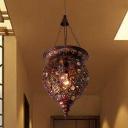 1 Head Metal Hanging Light Antique Copper Jar Restaurant Pendant Lighting Fixture