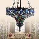 1 Head Metal Ceiling Lamp Art Deco Black Hat Living Room Suspended Lighting Fixture