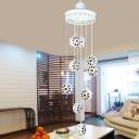 9 Bulbs Metal Hanging Lamp Bohemian White Round Living Room Cluster Pendant Light