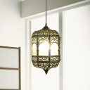 1 Head Pendant Lighting Traditional Multifaceted Metal Hanging Light Fixture in Brass