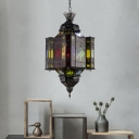 Black 8-Light Pendant Chandelier Traditional Metal Lantern Down Lighting for Restaurant