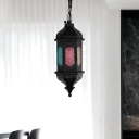 Art Deco Lantern Ceiling Pendant 1 Bulb Metal Hanging Light Fixture in Black for Restaurant, 5