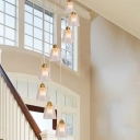 Prismatic Glass Barrel Cluster Pendant Modernist 8 Bulbs Ceiling Suspension Lamp in Gold