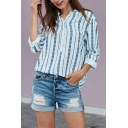 Ethnic Ladies' Roll-Up Sleeves V-Neck Button Front All Over Flower Patterned Loose Fit Shirt