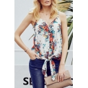 Women's Pretty Sleeveless V-Neck All Over Floral Printed Tie Hem Button Front Relaxed Cami Top
