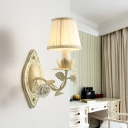 Tapered Living Room Sconce Lamp Traditional Metal 1/2 Lights Beige Flower Wall Lighting with Fabric Shade