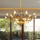 Metal Tulip Chandelier Lighting Country Style 30 Heads Living Room LED Pendant Light Fixture in Brown