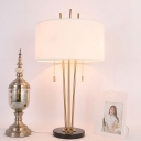 Modernism Cylinder Table Light Fabric 2 Bulbs Small Desk Lamp in White with Pull Chain