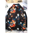 Funny Fashion Men's Long Sleeve Lapel Neck Button Down All Over Cartoon Printed Relaxed Fit Shirt