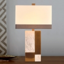 1 Head Rectangular Table Light Modern Fabric Nightstand Lamp in White with Marble Base